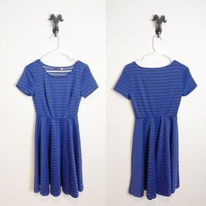 ModCloth Blue Striped Fit and Flare Dress